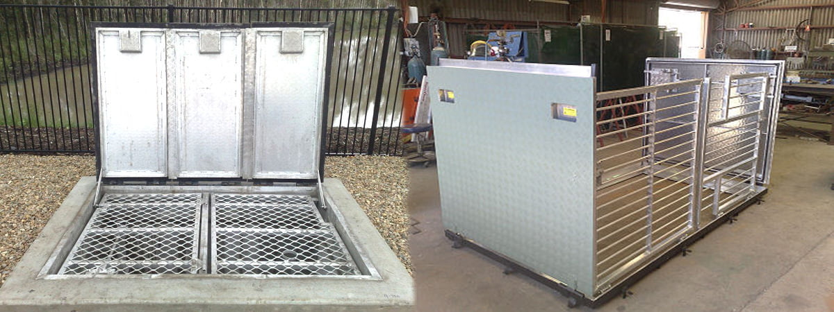 Metal fabrication of pump station access covers by Hallco Engineering.